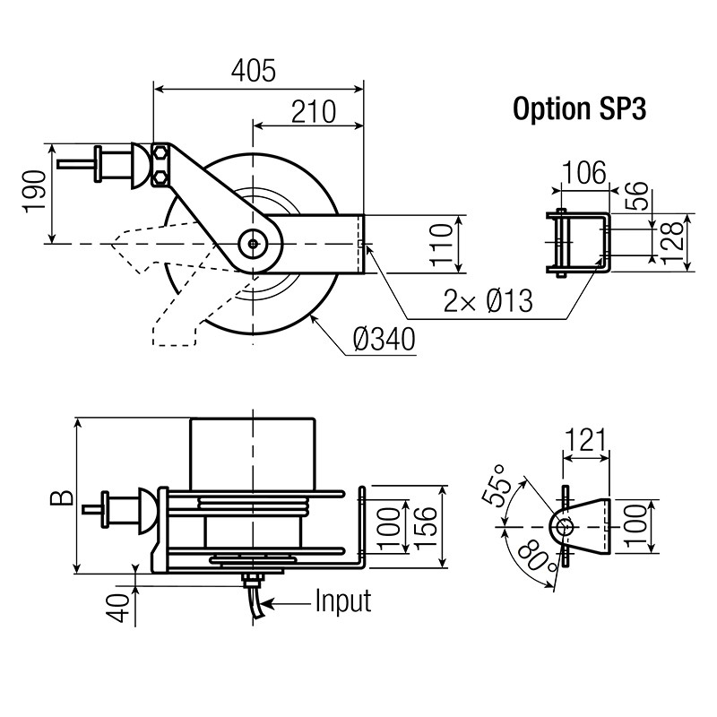 extension spring reels for electric cable open drum model