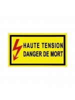 Autocollant Haute Tension danger de mort 350x200mm